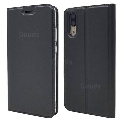 Ultra Slim Card Magnetic Automatic Suction Leather Wallet Case for Huawei P20 - Star Grey