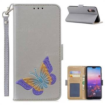 Imprint Embossing Butterfly Leather Wallet Case for Huawei P20 - Grey