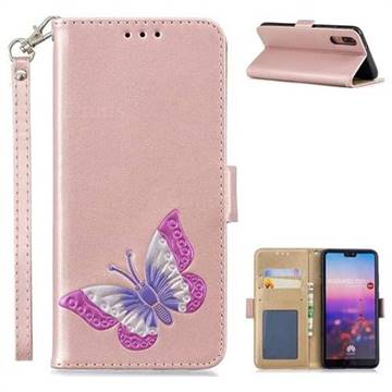 Imprint Embossing Butterfly Leather Wallet Case for Huawei P20 - Rose Gold