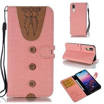 Ladies Bow Clothes Pattern Leather Wallet Phone Case for Huawei P20 - Pink