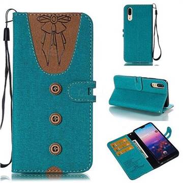 Ladies Bow Clothes Pattern Leather Wallet Phone Case for Huawei P20 - Green