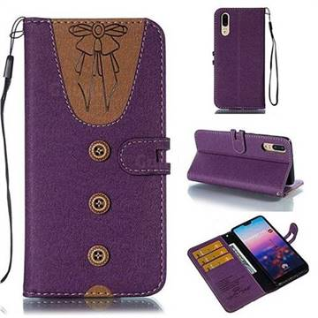 Ladies Bow Clothes Pattern Leather Wallet Phone Case for Huawei P20 - Purple