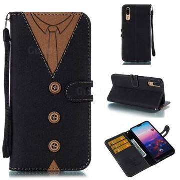Mens Button Clothing Style Leather Wallet Phone Case for Huawei P20 - Black