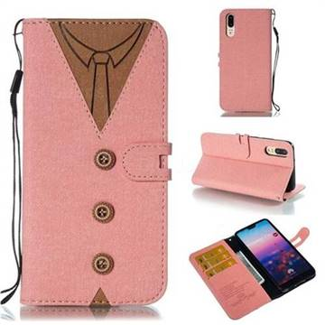 Mens Button Clothing Style Leather Wallet Phone Case for Huawei P20 - Pink