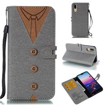 Mens Button Clothing Style Leather Wallet Phone Case for Huawei P20 - Gray