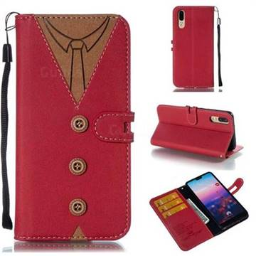 Mens Button Clothing Style Leather Wallet Phone Case for Huawei P20 - Red