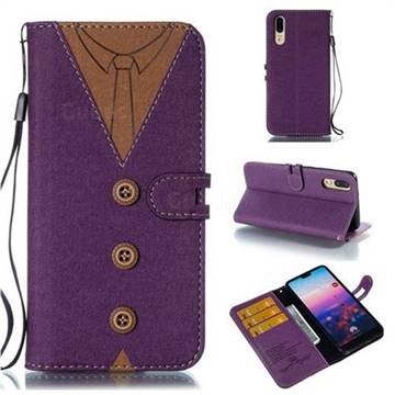 Mens Button Clothing Style Leather Wallet Phone Case for Huawei P20 - Purple