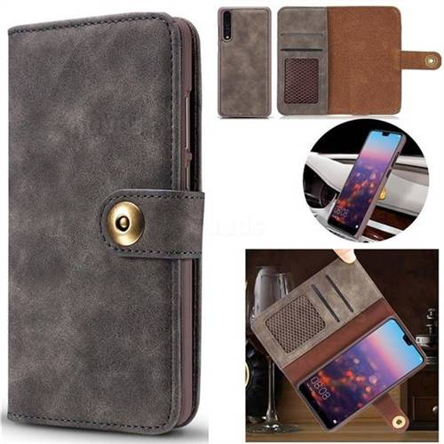 Luxury Vintage Split Separated Leather Wallet Case for Huawei P20 - Black