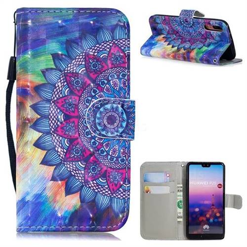 Oil Painting Mandala 3D Painted Leather Wallet Phone Case for Huawei P20