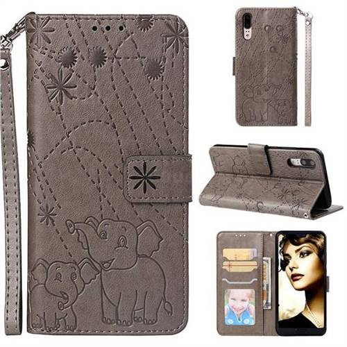 Embossing Fireworks Elephant Leather Wallet Case for Huawei P20 - Gray
