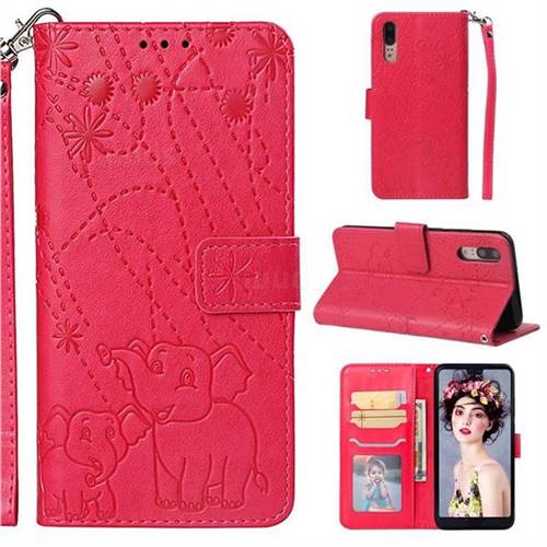 Embossing Fireworks Elephant Leather Wallet Case for Huawei P20 - Red