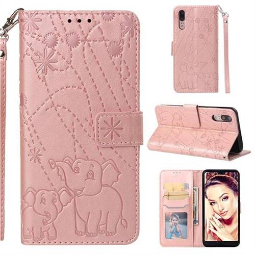 Embossing Fireworks Elephant Leather Wallet Case for Huawei P20 - Rose Gold