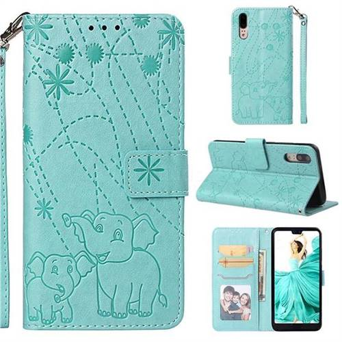 Embossing Fireworks Elephant Leather Wallet Case for Huawei P20 - Green