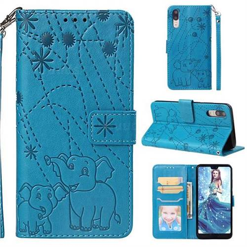Embossing Fireworks Elephant Leather Wallet Case for Huawei P20 - Blue