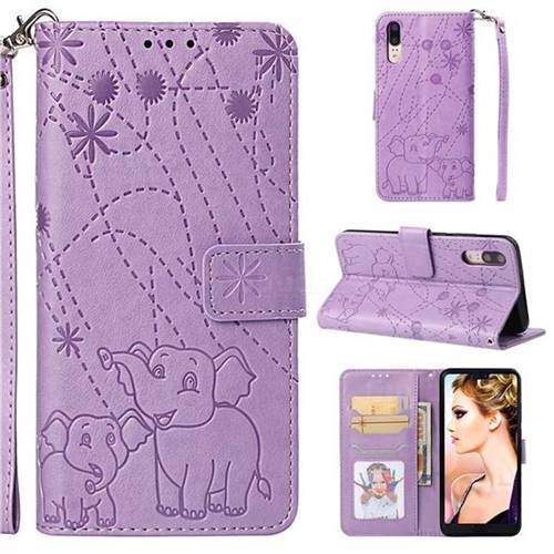 Embossing Fireworks Elephant Leather Wallet Case for Huawei P20 - Purple