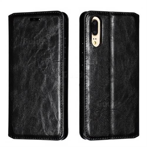 Retro Slim Magnetic Crazy Horse PU Leather Wallet Case for Huawei P20 - Black