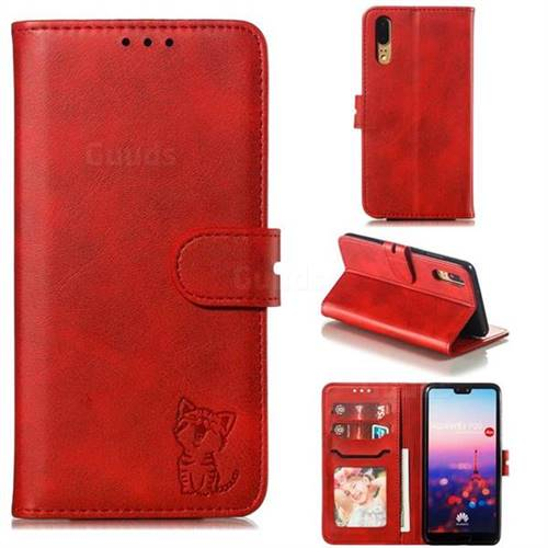 Embossing Happy Cat Leather Wallet Case for Huawei P20 - Red