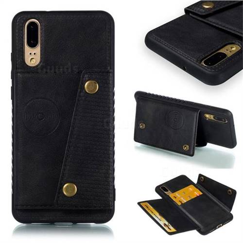 Retro Multifunction Card Slots Stand Leather Coated Phone Back Cover for Huawei P20 - Black