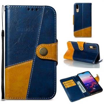 Retro Magnetic Stitching Wallet Flip Cover for Huawei P20 - Blue