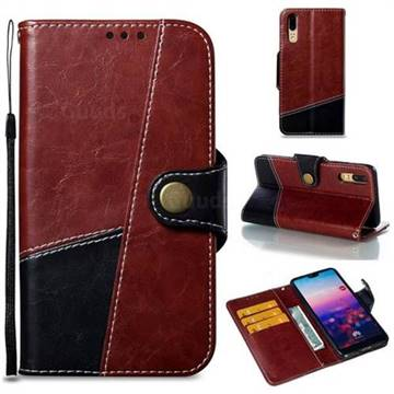 Retro Magnetic Stitching Wallet Flip Cover for Huawei P20 - Dark Red