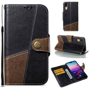 Retro Magnetic Stitching Wallet Flip Cover for Huawei P20 - Dark Gray