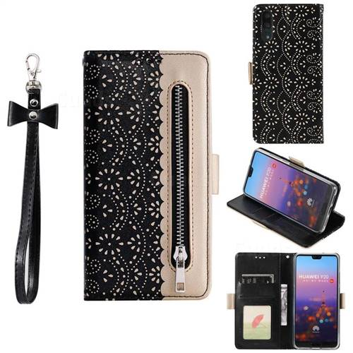 Luxury Lace Zipper Stitching Leather Phone Wallet Case for Huawei P20 - Black