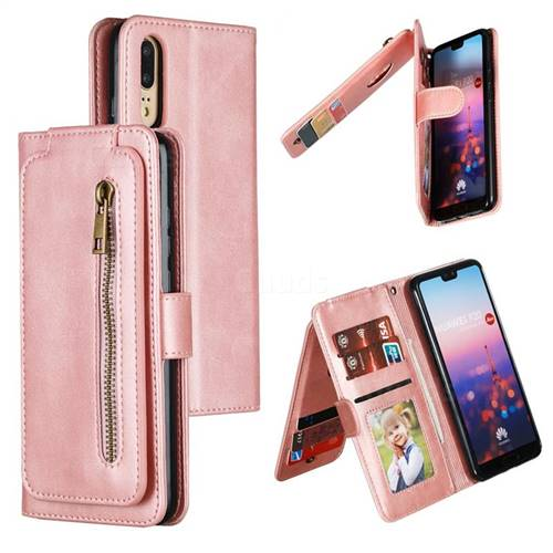 Multifunction 9 Cards Leather Zipper Wallet Phone Case for Huawei P20 - Rose Gold