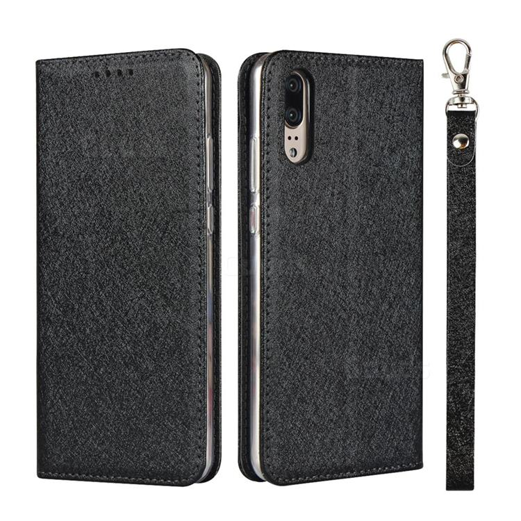 Ultra Slim Magnetic Automatic Suction Silk Lanyard Leather Flip Cover for Huawei P20 - Black