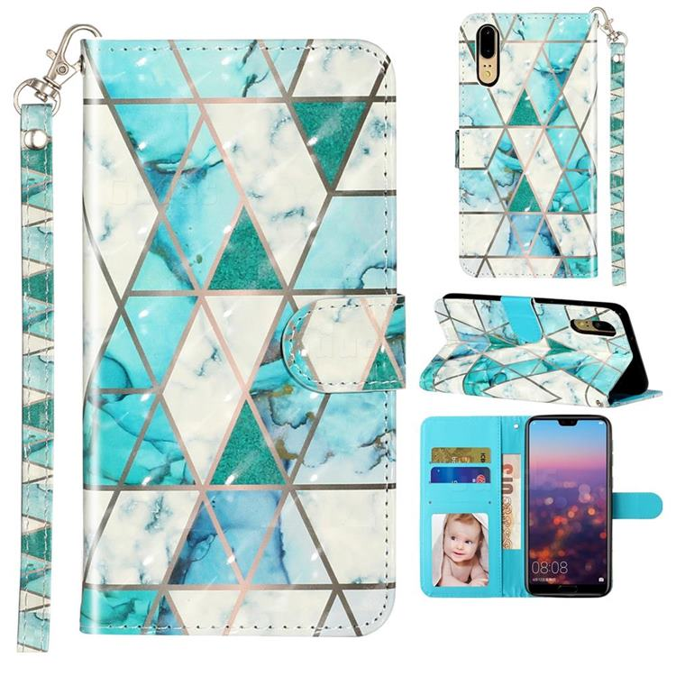 Stitching Marble 3D Leather Phone Holster Wallet Case for Huawei P20