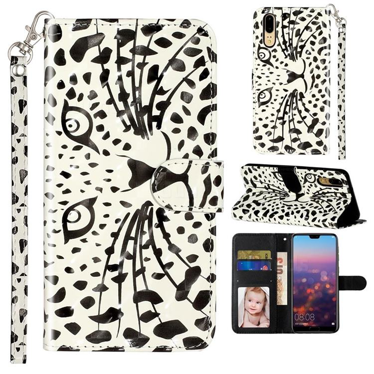 Leopard Panther 3D Leather Phone Holster Wallet Case for Huawei P20