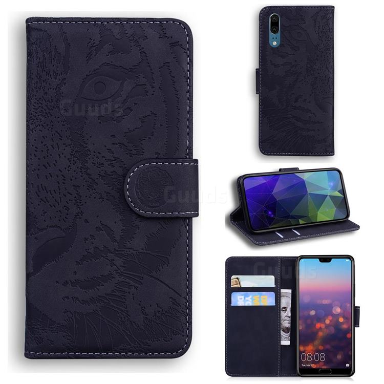 Intricate Embossing Tiger Face Leather Wallet Case for Huawei P20 - Black