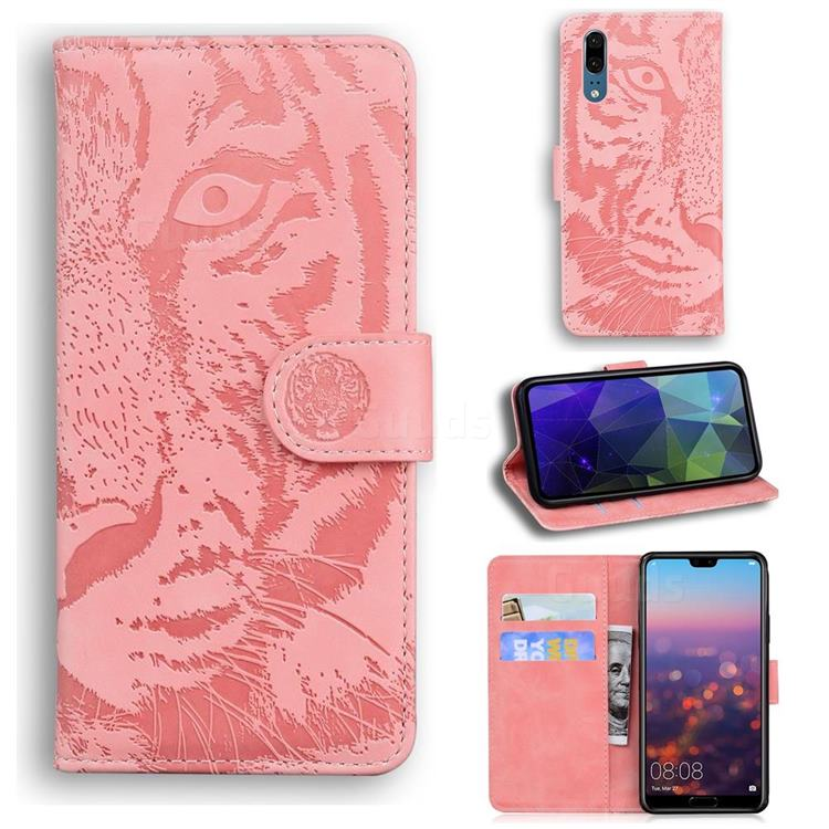 Intricate Embossing Tiger Face Leather Wallet Case for Huawei P20 - Pink