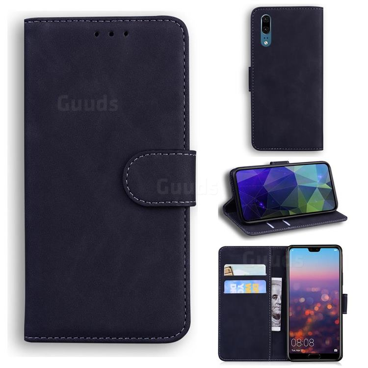 Retro Classic Skin Feel Leather Wallet Phone Case for Huawei P20 - Black
