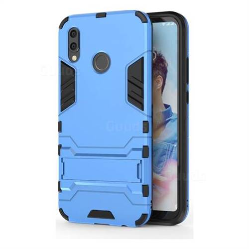Armor Premium Tactical Grip Kickstand Shockproof Dual Layer Rugged Hard Cover for Huawei P20 Lite - Light Blue