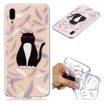 Feather Black Cat Super Clear Soft TPU Back Cover for Huawei P20 Lite