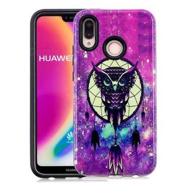 Starry Campanula Owl Pattern 2 in 1 PC + TPU Glossy Embossed Back Cover for Huawei P20 Lite