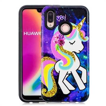 Rainbow Horse Pattern 2 in 1 PC + TPU Glossy Embossed Back Cover for Huawei P20 Lite