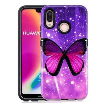 Glossy Butterfly Pattern 2 in 1 PC + TPU Glossy Embossed Back Cover for Huawei P20 Lite