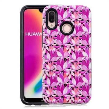 Lotus Flower Pattern 2 in 1 PC + TPU Glossy Embossed Back Cover for Huawei P20 Lite