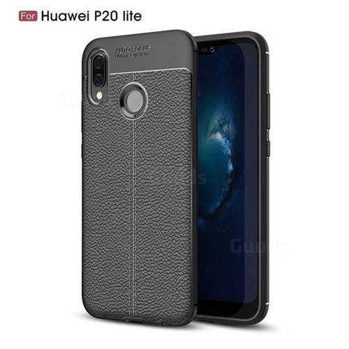 Luxury Auto Focus Litchi Texture Silicone TPU Back Cover for Huawei P20 Lite - Black