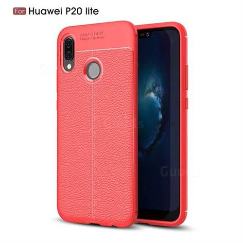 Luxury Auto Focus Litchi Texture Silicone TPU Back Cover for Huawei P20 Lite - Red