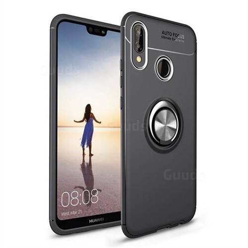 Auto Focus Invisible Ring Holder Soft Phone Case for Huawei P20 Lite - Black
