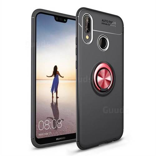 Auto Focus Invisible Ring Holder Soft Phone Case for Huawei P20 Lite - Black Red