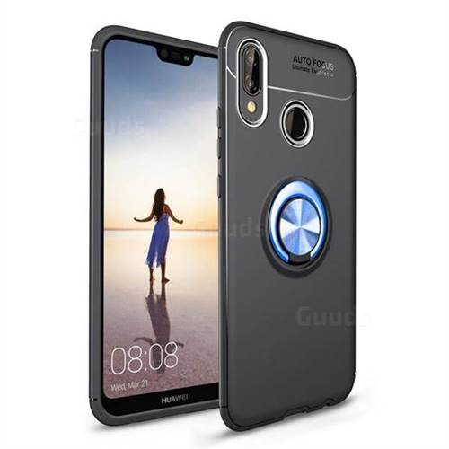 Auto Focus Invisible Ring Holder Soft Phone Case for Huawei P20 Lite - Black Blue