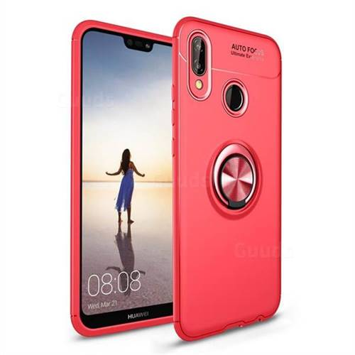 Auto Focus Invisible Ring Holder Soft Phone Case for Huawei P20 Lite - Red