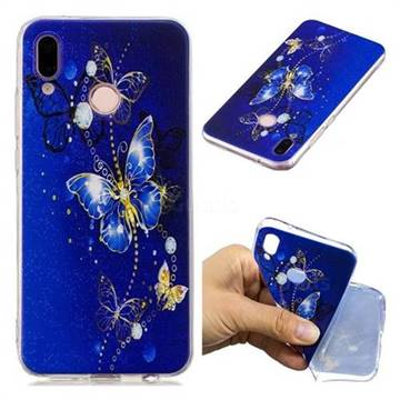Gold and Blue Butterfly Super Clear Soft TPU Back Cover for Huawei P20 Lite