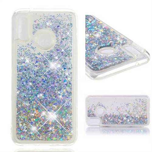 Dynamic Liquid Glitter Quicksand Sequins TPU Phone Case for Huawei P20 Lite - Silver