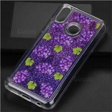 Purple Grape Glassy Glitter Quicksand Dynamic Liquid Soft Phone Case for Huawei P20 Lite