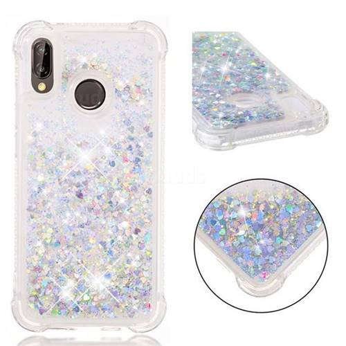 Dynamic Liquid Glitter Sand Quicksand Star TPU Case for Huawei P20 Lite - Silver