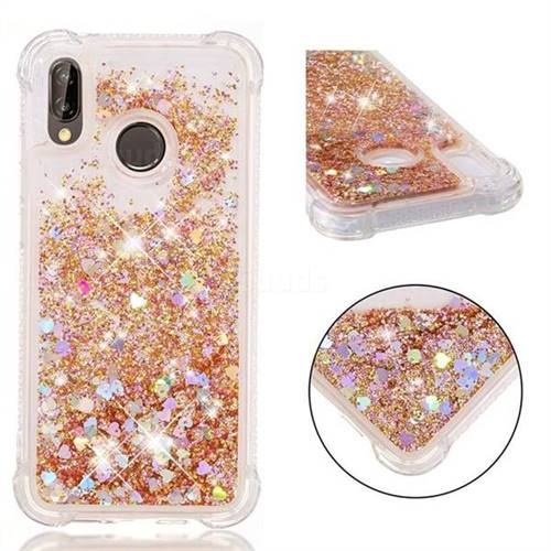 Dynamic Liquid Glitter Sand Quicksand Star TPU Case for Huawei P20 Lite - Diamond Gold